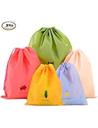 Drawstring Bags Set Of 5 Waterproof Plastic Storage Pouch For Travel Sport Gym Pe By Wondersky