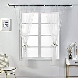 LianMengMVP Mode Simple Couleur Unie Tulle Porte Fenêtre Rideau Lavable Drapé Panneau Sheer Scarf Valances Design Transparent 150x100cm