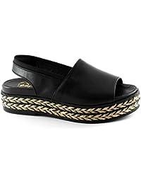 Espadrilles Pong Negro Nero Scarpe Sandali Donna Platform Corda Elastico 233d3beac0e