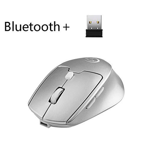 WOB Drahtlose Maus,Wiederaufladbares USB+Bluetooth Dual-Modus 2400 DPI Trackballs Maus 6 Tasten RGB Gaming-Maus für Heimspiele, High-End-Internet-Cafés, Büro (Weiß) - Weiß Trackball