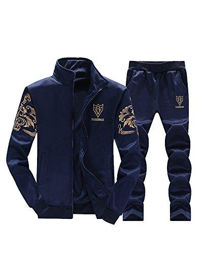 Homme Joggings 2 Pièces Survêtement Manches Longues Zipper Slim Fit Sweat-Shirt + Pantalons Bleu M