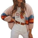 Zolimx Cárdigan Larga para Mujer Suéter de Manga Larga Cuello Alto Suelto Prendas de Punto Gruesa CáRdigan de Rayas con Costuras para Mujer Suéter de Otoño e Invierno Suéter Caliente Abrigo
