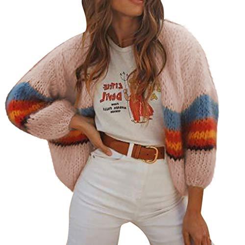 Rifuli,Damen Frauen Arbeiten beiläufigen Gestreift Farbe gestreiften Langen Hülsen Mantel um Strickpullover Langarm Coat Outwear - Boatneck Strickjacke