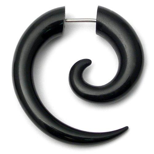 TDi Body Jewellery. Acrylic Fake Spiral Ear Expander   Black Fake Stretcher   Illusion of 6mm Acrylic Spiral Expander. TDi Jewellery Sizing Card included.