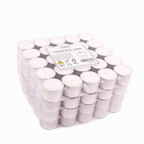 Pajoma Lot de 100 Bougies Chauffe-Plat Non-parfumées Durée de Combustion 8 Heures