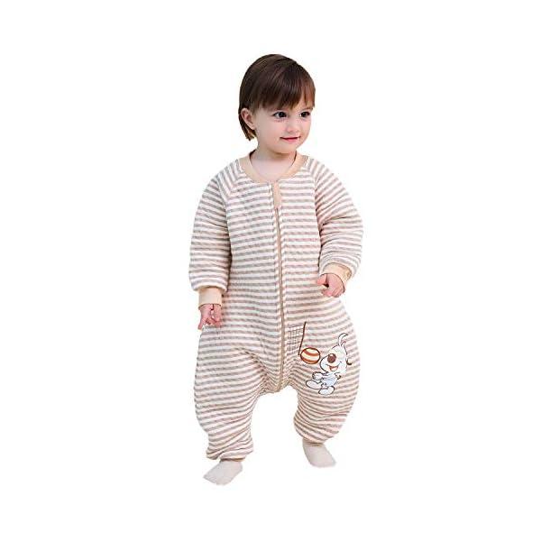 Saco de Dormir para bebé con Patas Saco de Dormir de Invierno de Manga Larga con Forro cálido y pies, Pijama de Mono… 1