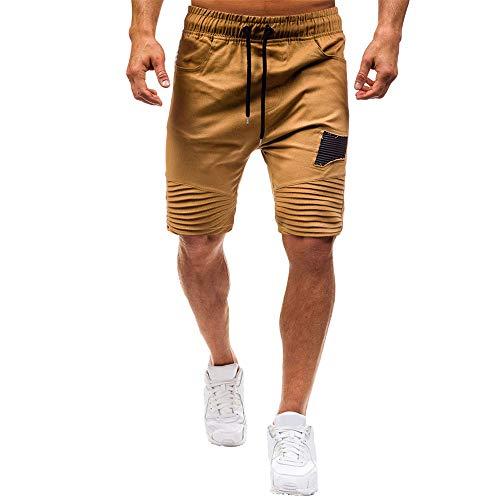 Twill Herren Cargo Pocket Shorts (Aiserkly Herren Sommer Freizeithose Kurze Jogginghose Solide Baggy Pockets Arbeitshose Cargo Shorts Drawstring Hose)