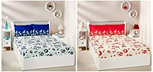 Amazon Brand - Solimo Jasmine Zest 144 TC 100% Cotton Double Bedsheet with 2 Pillow Covers, Blue + Jasmine Zest 144 TC 100% Cotton Double Bedsheet with 2 Pillow Covers, Red Combo