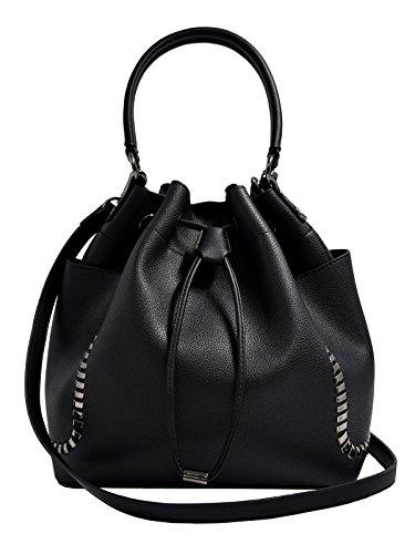 CRAZYCHIC - Damen Hobo Beuteltasche mit Taschen und Ketten - Mode Eimer Tasche - Leder imitat Handtasche mit Schulterriemen und Handgelenk - Große Schultertasche - Mode Umhängetasche - Schwarz (Handtasche Tasche Eimer)