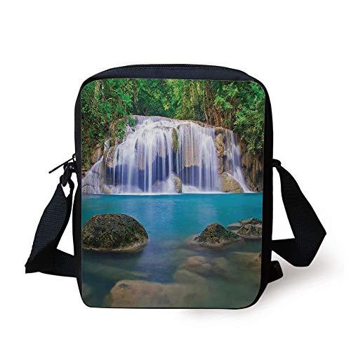 Waterfall,Fantastic Falls Flowing Down by Crystal Water Secret Paradise in The Earth Print,Multi Print Kids Crossbody Messenger Bag Purse