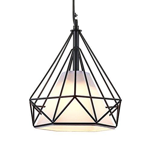 Tobaling Lustre Suspension E27 Cage en Fer Forme Diamant avec Douille Eclairage pour Décor Restaurant Salle Chambre (NOIR, M)