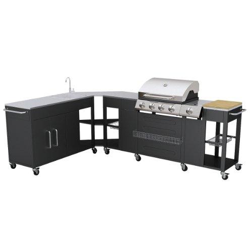 vidaXL Barbecue géant Cuisine de Jardin gaz Inoxydable Professionnel Missouri