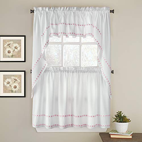 Sweet Home Collection Kitchen Window Curtain 5 Piece Set with Valance, Swag, and Choice of 24