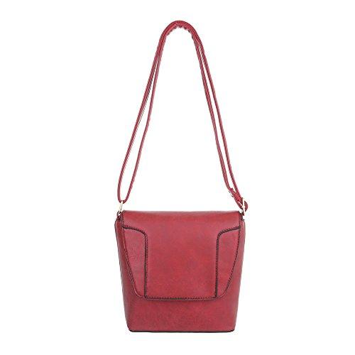 Borsa A Tracolla Piccola In Pelle Con Stampa Ital-design In Similpelle Ta-s1806 Rosso Rosa Usata