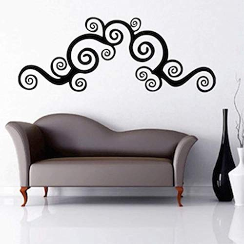 Wall Art Sticker Swirly Border Living Room Removable Fancy Mural Pattern Swirling Abstract Wallpaper Waves Ocean Sticker Home Decal for Living Room Bedroom Decor -