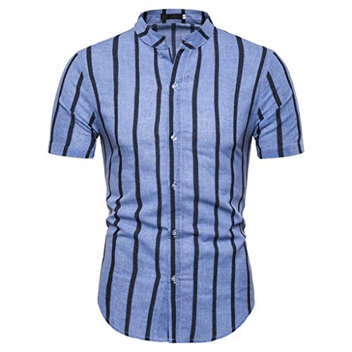 friendGG_Top Männer Casual Sommer Gestreifte Taste Kurzarm Hawaiian T-Shirt Tops Blusen Plaid Print...