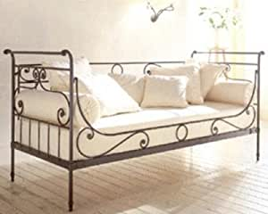 franz sisches tagesbett brandneu schwarz verziert metall einzelbett l 399. Black Bedroom Furniture Sets. Home Design Ideas