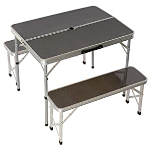 Nexos Picknickset Sitzgruppe Campingtisch mit Schirmloch 2 Bänke klappbar Aluminium Silber 90 cm