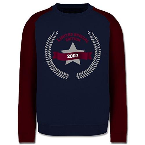 Geburtstag - 2007 Limited Special Edition - Herren Baseball Pullover Navy Blau/Burgundrot