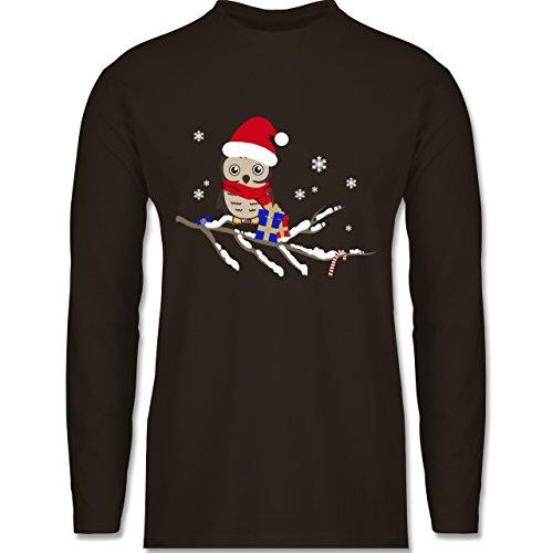 Weihnachten & Silvester - Weihnachtseule Eule - Longsleeve / langärmeliges T-Shirt für Herren Braun