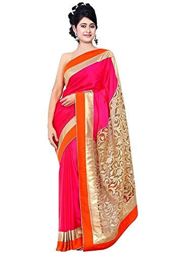 Sarees (Welcome Fashion Women\'s Clothing Satin & Brasso Pink Color Bollywood Style Designer Wear Low Price Sale Offer buy online in Georgette Net Material New Beige & Red Color Designer Free Size Bea