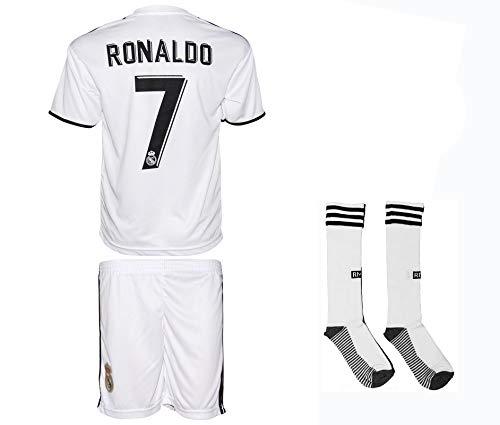 Real Madrid Ronaldo #7 2018/19 Heim Trikot und Shorts mit Socken und Wickel Armband Kinder und Jugend Größe