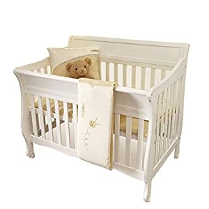DUWEN-Cot bed Solid Wood Multifunction Baby Cot European Style Cot Bed Toddler Bed Splicing Bed With Wheel (color : White)   15