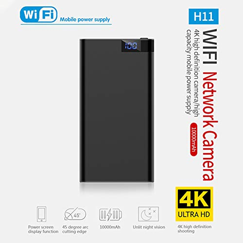 BEESCLOVER HD 4 K 10000 mAh WiFi Power Bank Kamera Wireless Bewegungserkennung Nachtsicht Überwachungskamera Nanny Cam Home and Office schwarz