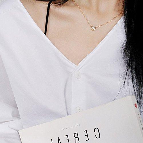 Meteoriten Parfüm (WTTCD Damen Halskette Damen Halskette Anhänger 925 Halskette Feminine Zirkon Anhänger Schlüsselbein Kette Langen Abschnitt,Gold Gewinde Meteorit)