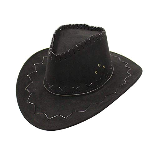 Nero - Cappello - Cowboy - Cowgirl - Far West - Western - Rodeo - Saloon - Sceriffo - Costume - Travestimento - Carnevale - Halloween - Cosplay - Accessori - Uomo - Donna - Bambini