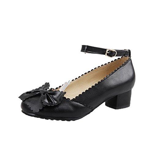 VogueZone009 Femme à Talon Bas PU Cuir Couleur Unie Boucle Chaussures Légeres Noir