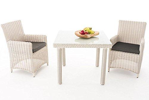 Gartenmöbel, Gartenmöbel-Set, Sitzgruppe Dorado M100, perl-weiß / anthrazit, Polyrattan-Aluminium-Gestell, Gartengarnitur, Sitzgarnitur.