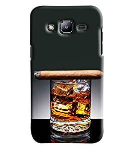 Blue Throat Glass Of Whisky With Cigar Printed Designer Back Cover For Samsung Galaxy J2