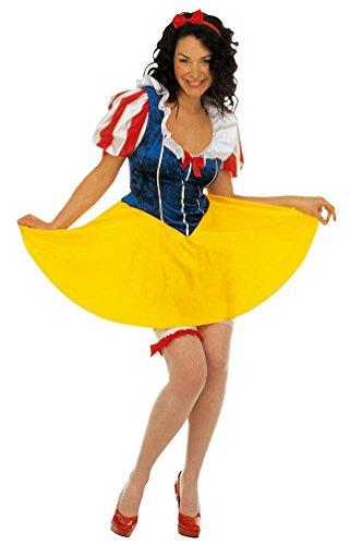 Märchen Schneewittchen Kostüm Sexy - Karneval-Klamotten Schneewittchen-Kostüm Damen Märchen Kostüm mit Haarschleife Karneval Damen-Kostüm Größe 38/40