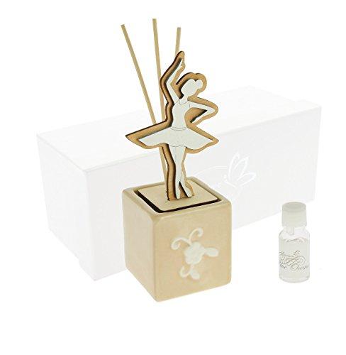 Diffusore cubo ballerina legno/porcellana 7x17 +profumo c/ast.