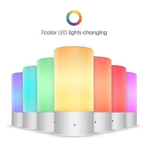 AIGUOZER® LED Aufladbare Farbwechsellampe dimmbare Nachttischlampe Atmosphäre Tischlampe Nachtlicht Stimmungslicht mit Berührungssensor 256 Farbe RGB Warmweiß