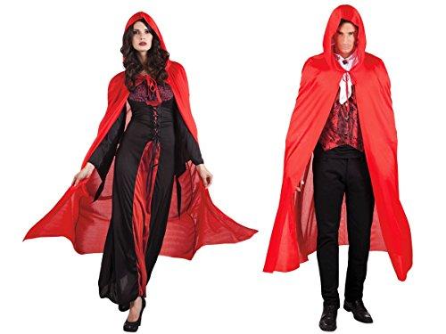 Rotkäppchen Damen Gothic Erwachsene Kostüme (Alsino Vampir Rotkäppchen Cape Teufel Umhang Gothic Kostüm mit)