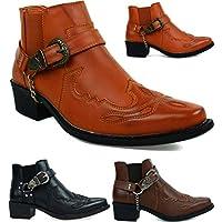 New Men Cuban Heel Chain Buckle Ankle Cowboy Boots UK Size 6-12