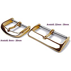 Minott Ersatzschließe Pin Buckle Stainless Steel Schließe IP yellow Gold for leather watch straps 6 mm - 40 mm, Centre: 28 mm