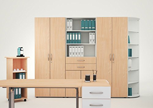 Büroschrank holz  ▷ Querrollladenschrank - Büroschrank aus Holz Silber/Buche
