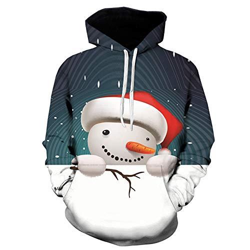 (OverDose Damen Mens 3D Printed Weihnachten Pullover Langarm Mit Kapuze Sweatshirt Tops Bluse Party Clubbing Schnee Cool Warm Outwear(Schwarz2, EU-46/CN-M))