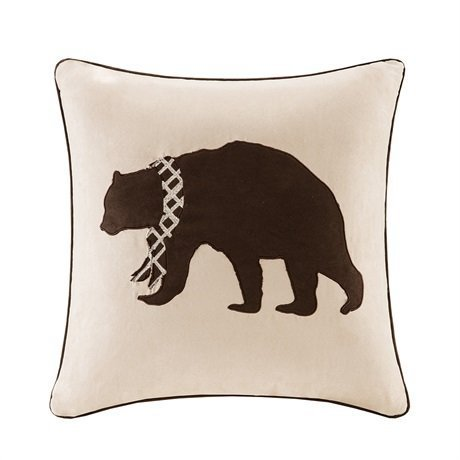 Madison Park Bear Embroidered Suede Square Pillow Tan 20x20 by Madison Park -