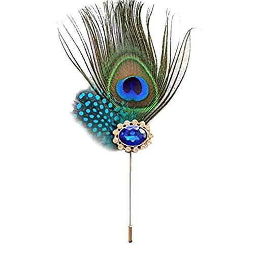 Milopon Bunte Stoffpin Pfauenfeder Decor Brosche Elegant Badge für Männer Frauen Anzug Kleid Zubehör