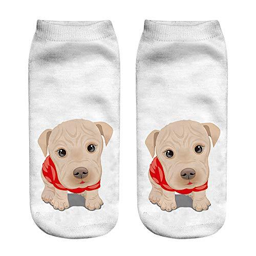 Zolimx Unisex 3D Hundedrucksocken lustige Kurze Socken Graffiti gedruckt Fußkettchen Socken Casual Socken