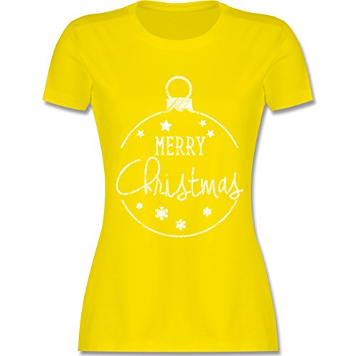 Weihnachten & Silvester - Merry Christmas handgemalt - tailliertes Premium T-Shirt mit Rundhalsausschnitt für Damen Lemon Gelb