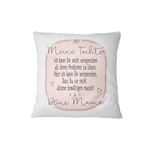 Tassenbrennerei Kissen mit Spruch Tochter Mama - Kissenbezug inklusive Kissen, Dekokissen Geschenk für Tochter Kissen mit Sprüchen (Rosa) -