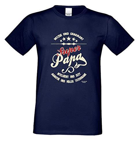 Family T-Shirt - Super Papa - Bedrucktes Hemd Als Passendes Geschenk oder Outfit für deinen Vater - Blau 2, Größe:L