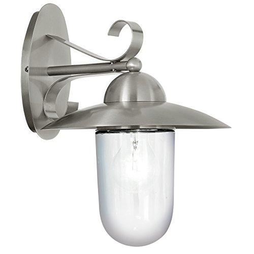 Eglo Außen Stehleuchte Modell Sidney / aus Edelstahl und weißem satiniertem Glas / HV 1 x E27 max. 60 W / exklusiv Leuchtmittel / Schutzgrad IP 44 / 120 x 35 cm / Sockelplatte  ø  12.0 cm 83969