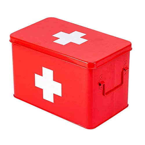 Owhbdsd JJJJD Metall Medizin Box Haus Erste Hilfe Box, Haushalt Medical Kit Koffer, Kinder Notfall Medical Kit (Color : Red) (Kit-medizin Medical)