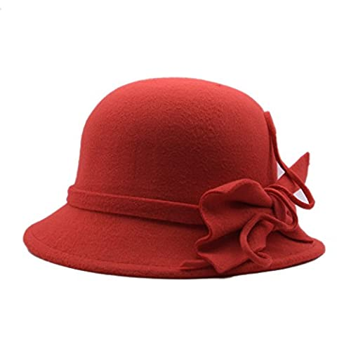 Bng Women's High Quality Fedora Bowler Hat Fashion Winter Felt Cloche Cap with Bowknot